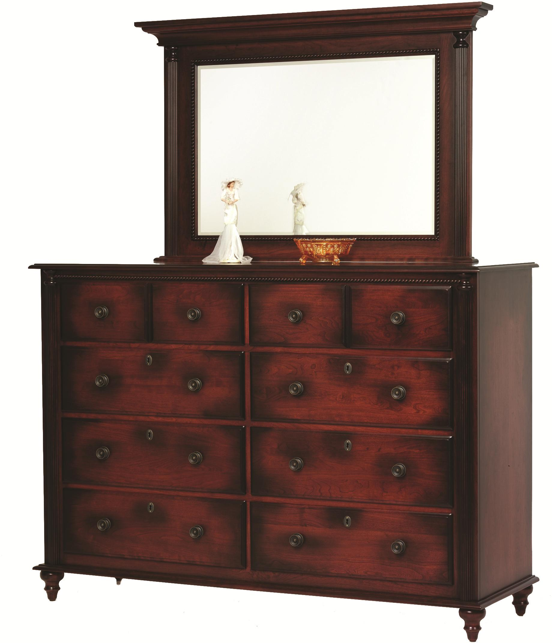 Fur Elise High Dresser and Mirror by Millcraft at Saugerties Furniture Mart