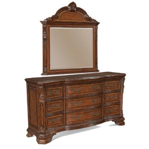 A.R.T. Furniture Inc Old World Drawer Dresser and Mirror