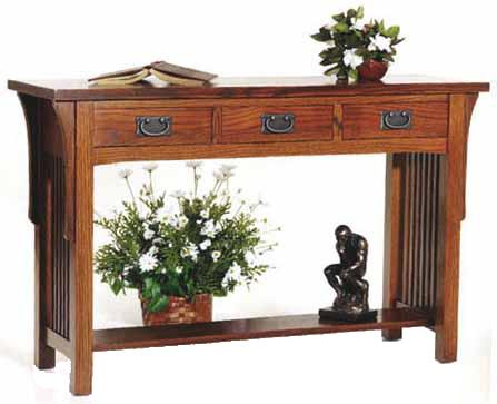 Arts and Crafts  Sofa Table with 3 Drawers by AA Laun at Mueller Furniture