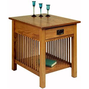 Drawer End Table with Decorative Slats & Lower Shelf