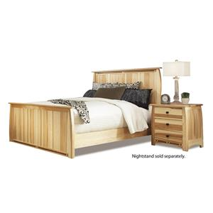 King Solid Hickory Panel Bed with Steam-Bent Headboard & Footboard