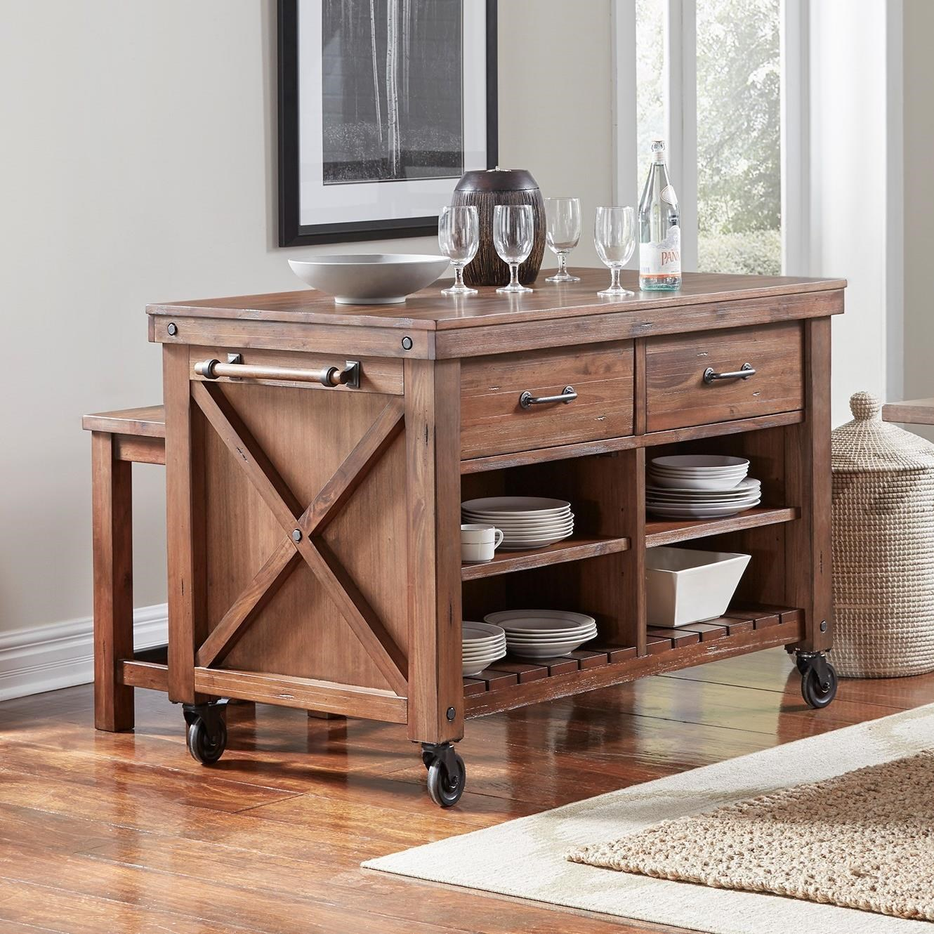 Anacortes Kitchen Island with Wood Top by AAmerica at Zak's Home