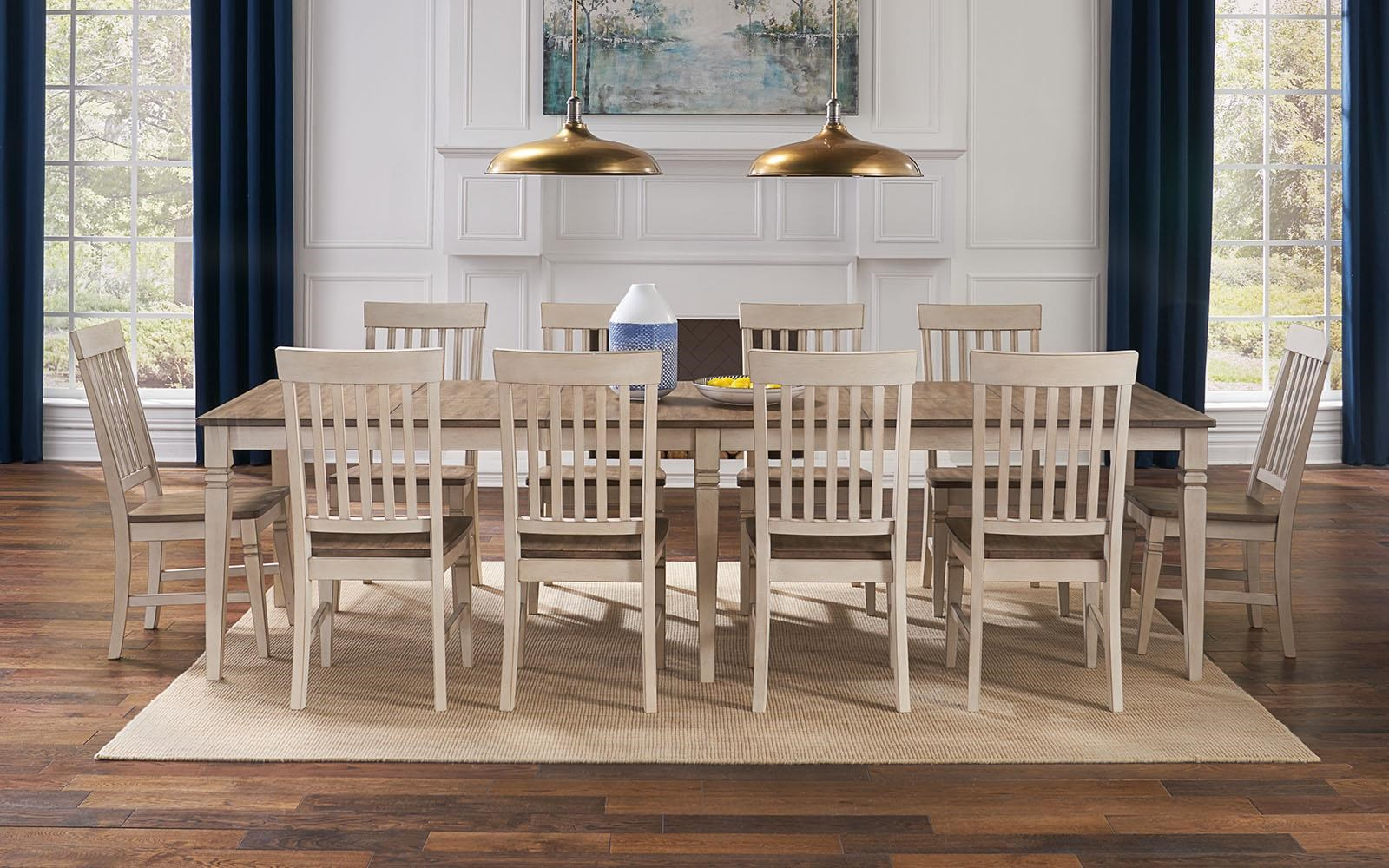 Beacon Rectangular Leg Table and Slatback Chairs by AAmerica at Johnny Janosik