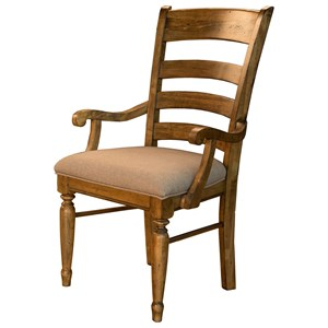 Ladderback Arm Chair with Upholstered Seat