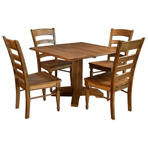 5 Piece Square Drop Dining Set With Ladderback Side Chairs