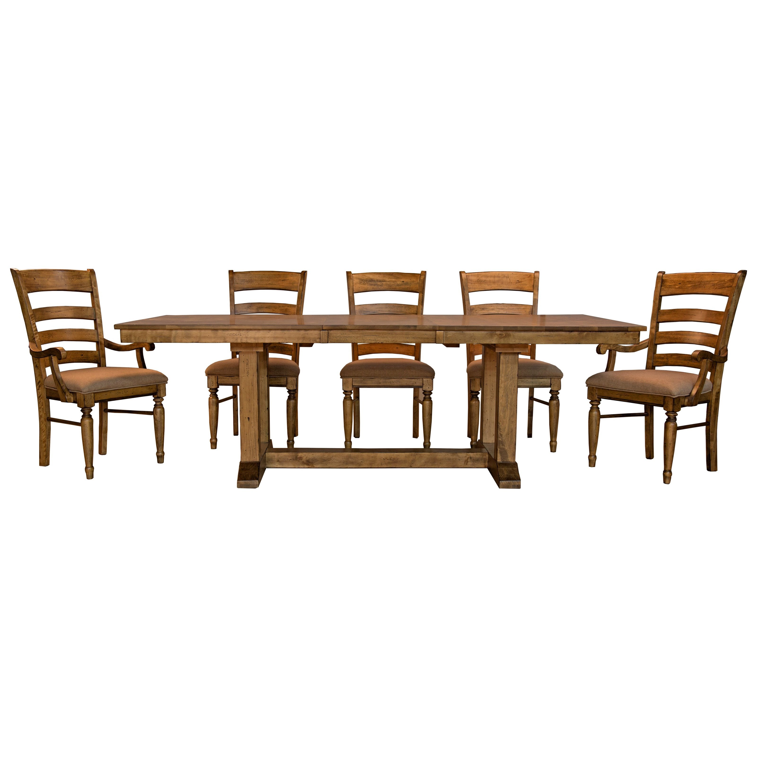Bennett 6 Piece Trestle Dining Set by A-A at Walker's Furniture