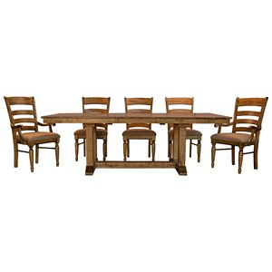 6 Piece Trestle Dining Set