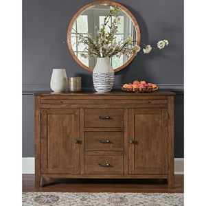Transitional Sideboard with Pull Out Serving Service