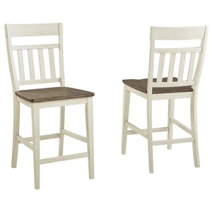 Solid Wood Transitional Slatback Stool with Upholstered Seat