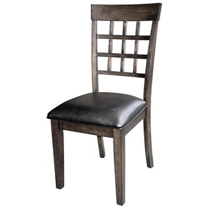 Gridback Side Chair with Upholstered Seat