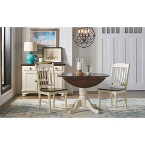 3 Piece Dining Set witih Round Dropleaf Table and Slat Back Chairs