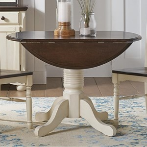 Round Dropleaf Table with Pedestal Base