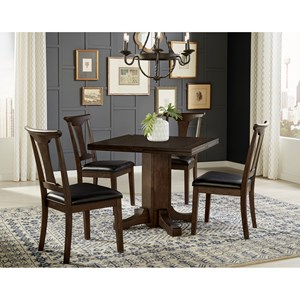 5 Piece Drop Leaf Dining Set With T-Back Side Chairs