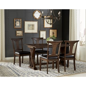 5 Piece Flip Top Dining Set With T-Back Side Chairs