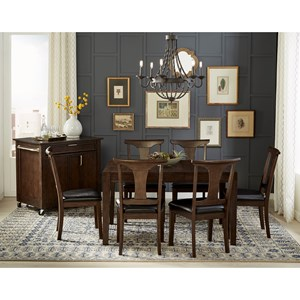 7 Piece Square leg Dining Set With T-Back Side Chair