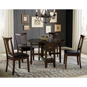 5 Piece Gate Leg Dining Set With T-Back Side Chairs