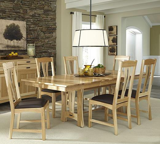 Cattail Bungalow 7-Piece Trestle Table Dining Set by AAmerica at Novello Home Furnishings