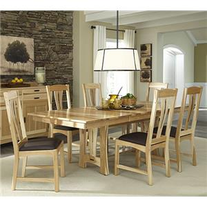 7-Piece Trestle Table Dining Set w/ 6 Side Chairs