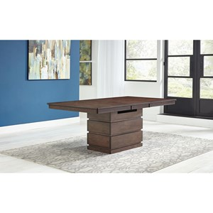 Contemporary Convertible Height Storage Table with Self Storing Leaf