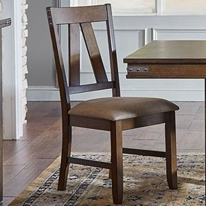 Upholstered Solid Wood Side Chair With Metal Band Details