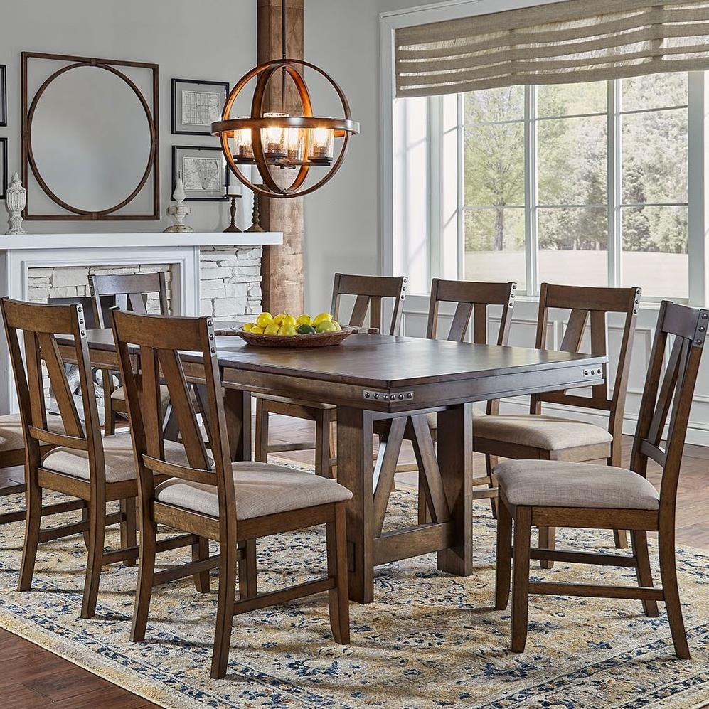 Eastwood Dining Butterfly Leaf Trestle Table by A-A at Walker's Furniture