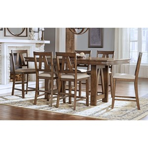 Solid Wood Counter Height Table With Butterfly Leaf And 6 Upholstered Side Chairs