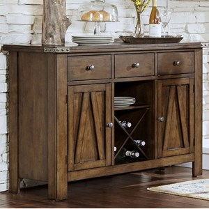 Solid Wood Server With Metal Band Accents And Wine Rack