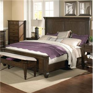 Solid Mahogany King Mansion Bed with Crown Molding