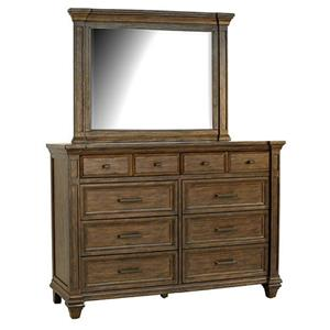 Solid Mahogany 8 Drawer Dresser & Mirror with Crown Molding