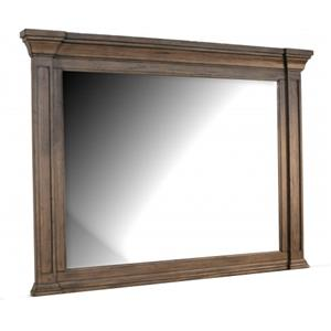 Solid Mahogany Landscape Mirror with Crown Molding