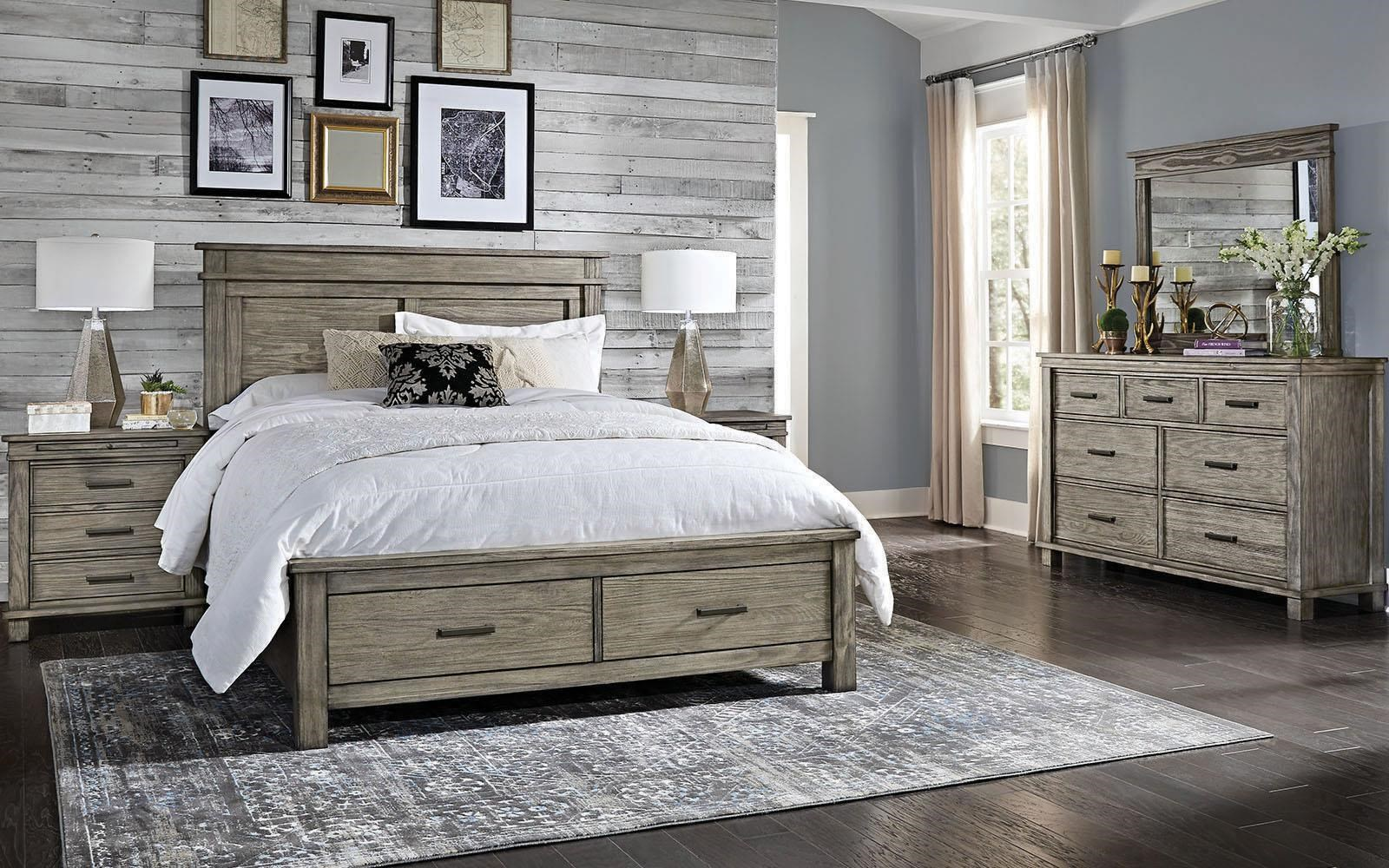 Glacier Point King Storage, Nightstand, Dresser, Mirror by AAmerica at Johnny Janosik