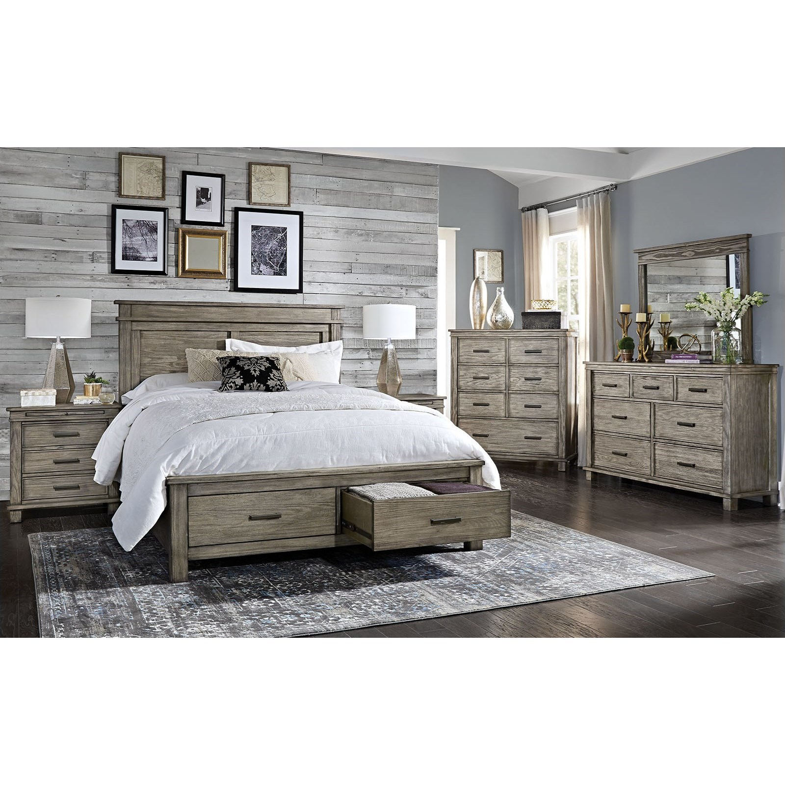 Glacier Point Queen Storage Bedroom Group by AAmerica at Fashion Furniture