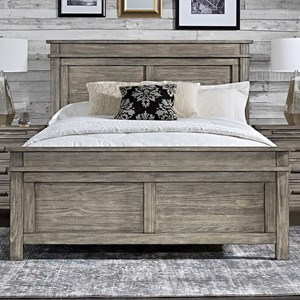 Transitional Solid Wood King Panel Bed