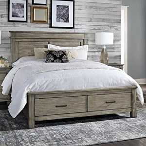 Transitional Solid Wood King Storage Bed with 2 Drawers