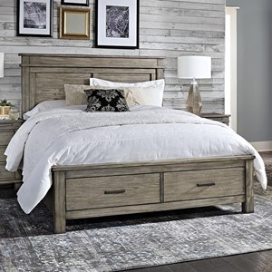 Transitional Solid Wood Cal King Storage Bed with 2 Drawers