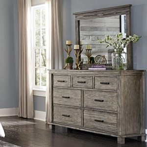 Transitional Solid Wood 7 Drawer Dresser & Mirror Set