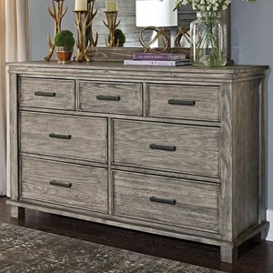 Transitional Solid Wood 7 Drawer Dresser With Felt Lined Top Drawer