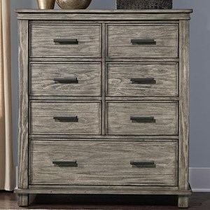 Transitional Solid Wood 7 Drawer Chest With Block Feet