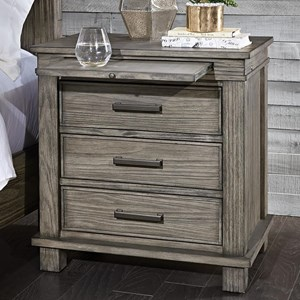 Transitional Solid Wood 3 Drawer Nightstand With USB Ports
