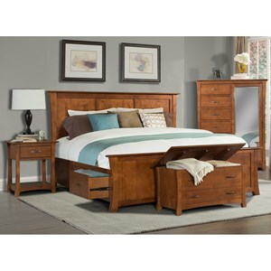 Transitional Queen Platform Bed with Storage