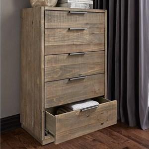 Rustic Solid Wood Chest with Felt-Lined Drawer