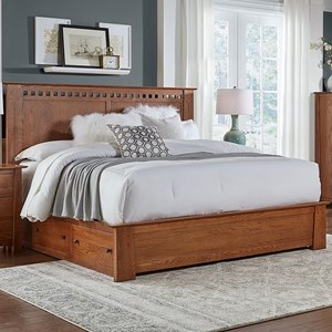 Transitional Solid Wood Queen Storage Bed