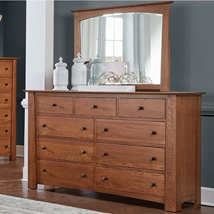 Transitional Solid Wood Dresser with Felt Lined Top Drawers & Mirror