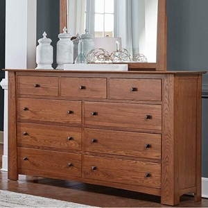 Transitional Solid Wood Dresser with Felt Lined Top Drawers