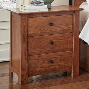 Transitional Solid Wood Nightstand with Felt Lined Top Drawer