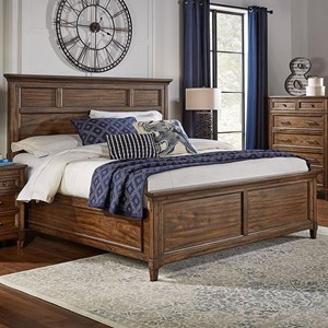 Transitional Solid Wood Queen Panel Bed