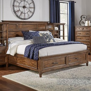 Transitional Solid Wood Queen Bed with Storage Footboard