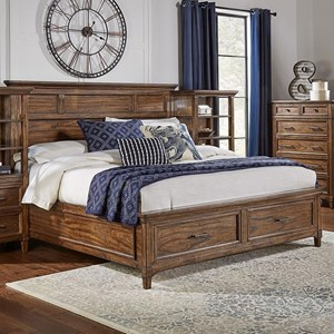 Transitional Solid Wood King Bed with Storage Footboard