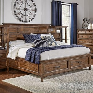 Transitional Solid Wood California King Bed with Storage Footboard