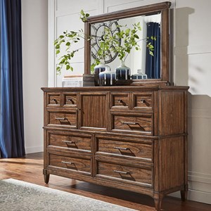 Transitional Solid Wood 8 Drawer Dresser with Removable Felt-Lined Jewelry Tray and Mirror